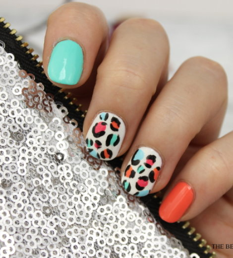 Bright Leopard Nails