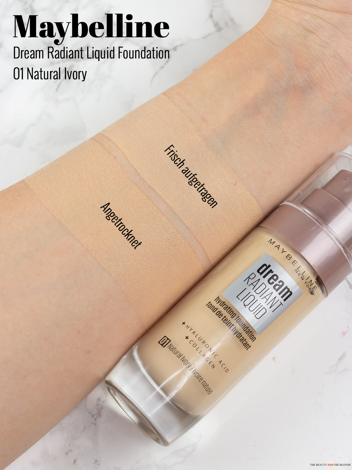 Maybelline Dream Radiant Liquid Foundation Swatches